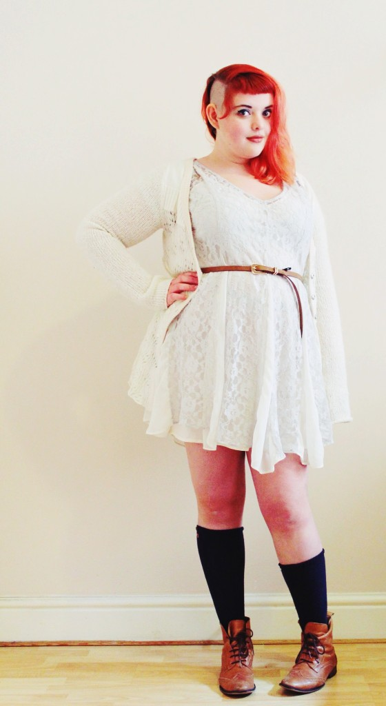 Dress is from ASOS, size 16 Cardigan is Free People, bought secondhand, size L socks are Target belt is Primarni
