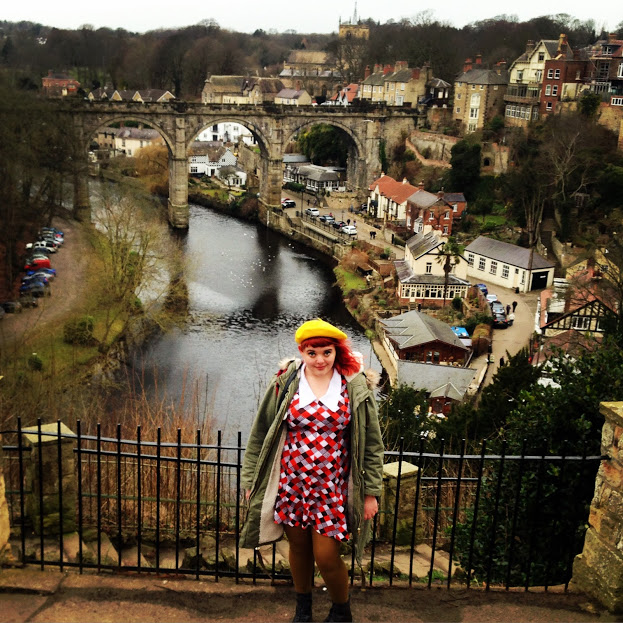 Gorgeous Knaresborough. The dress is one of my favorites, a vintage find that I picked up in Newcastle