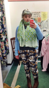 2/13. Outfit for teaching. Old Navy printed trousers in size XL, thrifted vintage sweater, and the beautiful scarf is a gift from my Aunt Wendy.